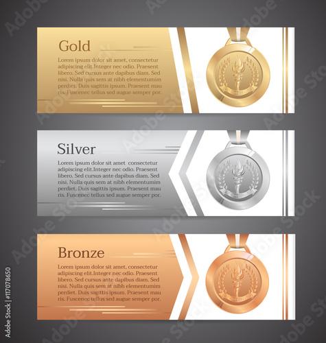 Fotografie, Obraz  Set of horizontal banners, Gold, Silver, Bronze medal, Vector illustration