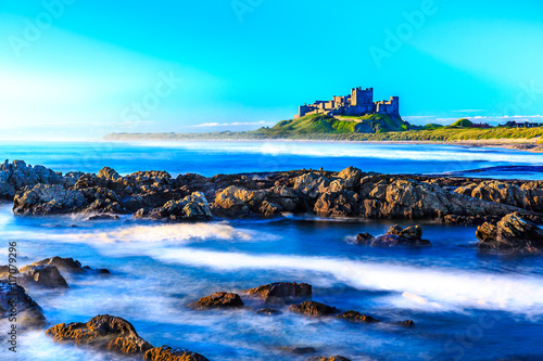 Spoed Foto op Canvas Turkoois Bamburgh Castle, North East Coast of England