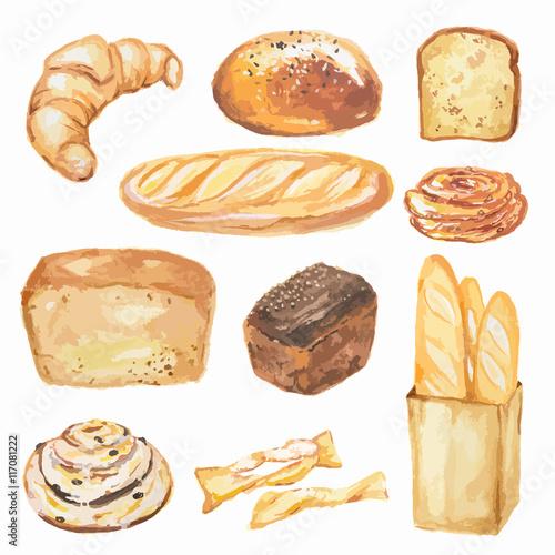 Fotografering  Watercolor bread set