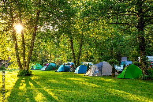 Poster Camping Tents Camping area, early morning, beautiful natural place