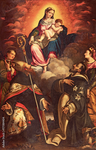 CREMONA, ITALY - MAY 24, 2016: The panting of Madonna in Glory witht the saints by Antonio Mainardi (1585) in church Chiesa di San Agostino. - 117084404