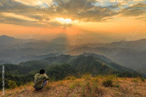 Foto auf Gartenposter Gebirge Summit of Tulay Hill, Tak province, Thailand