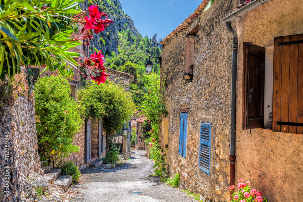 Fototapety, obrazy: Moustiers Sainte Marie village with street in Provence, France