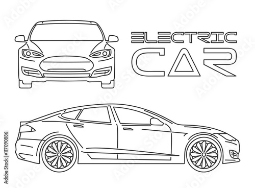 Staande foto Cartoon cars Silhouette of electric car. Outline