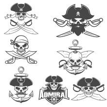 Set Of Pirate Skulls.