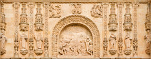 SALAMANCA, SPAIN, APRIL - 17, 2016: The Lapidate Of St. Stephen As The Detail From Portal Of Convento De San Esteban By Juan Ribero De Rada (1590 - 1592) Inspirated By Italian Renaissance.