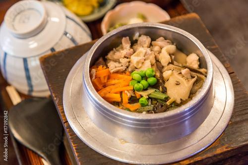 Photo  traditional japanese dish - Takikomi Gohan.