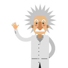 Flat Design Albert Einstein Cartoon Icon Vector Illustration