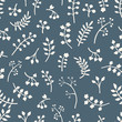 Vector floral seamless pattern with leaves and flowers. Spring o