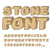 Stone Font. Set Of Letters From Stones. Alphabet And Rocks. Ston