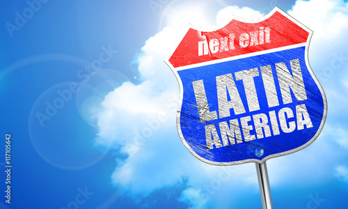 Photographie  latin america, 3D rendering, blue street sign