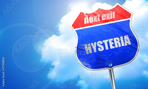 hysteria, 3D rendering, blue street sign Canvas Print