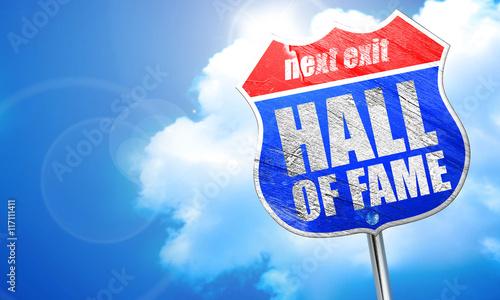 Valokuva hall of fame, 3D rendering, blue street sign