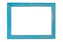 Blue Wooden Photo Frame On White Background