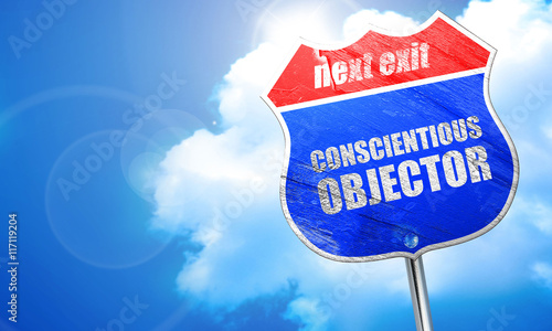 Fotografie, Obraz  conscientious objector, 3D rendering, blue street sign