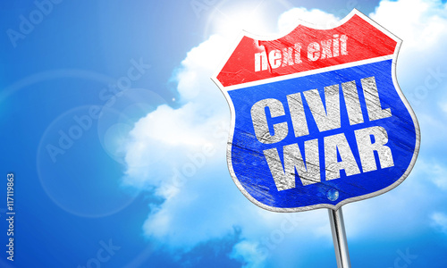 civil war, 3D rendering, blue street sign Fototapeta