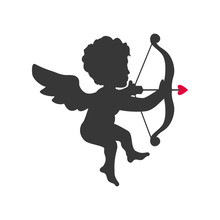 Love Concept Represented By Cupid Silhouette Icon. Isolated And Flat Illustration