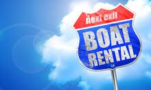 Boat Rental, 3D Rendering, Blue Street Sign