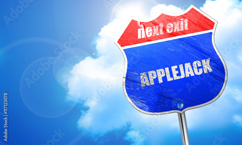 Photo  applejack, 3D rendering, blue street sign