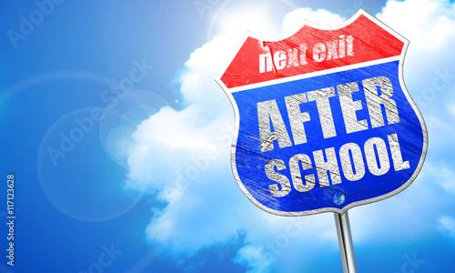 after school, 3D rendering, blue street sign Canvas Print