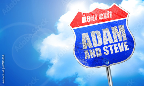 Fotografie, Obraz  adam and steve, 3D rendering, blue street sign