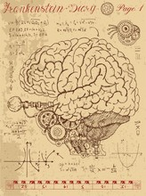 Frankenstein Diary With Mechanical Human Brain, Eye And Formulas