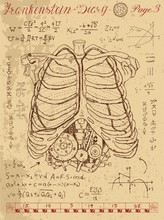 Frankenstein Diary With Human Anatomy Chest And Steampunk Mechanism In Ribs
