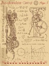 Frankenstein Diary With Steampunk Mechanism In Human Anatomy Backbone
