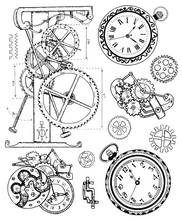 Graphic Set With Old Clock Mec...