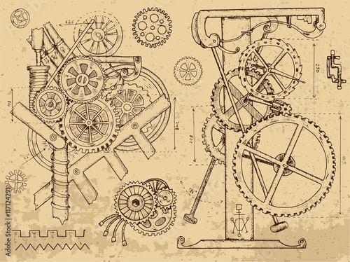 Carta da parati Old mechanisms and machines in steampunk style