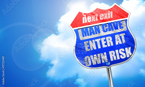 Photo  man cave sign, 3D rendering, blue street sign