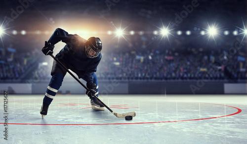 Stampa su Tela Hockey player on ice  . Mixed media