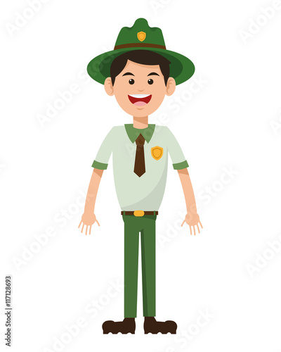 Fotografía  flat design park ranger icon vector illustration