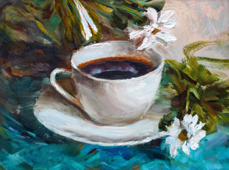 Fototapeta Do herbaciarni painting texture oil painting still life, a cup of coffee drink