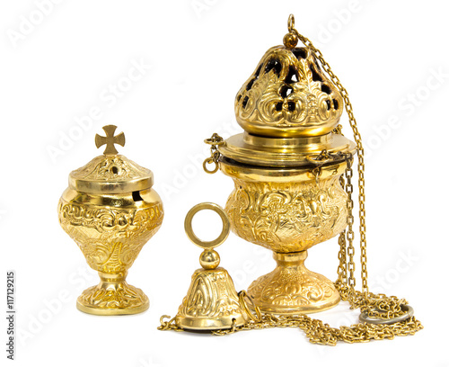 Fotografija  Censer hung and thurible on  white background