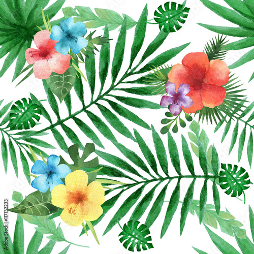 Watercolor seamless pattern with exotic flower hibiscus and palm leaves.