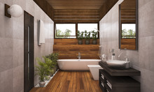 3D Rendering Contemporary Wood...