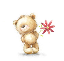 Cute Teddy Bear With The Red F...