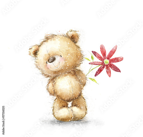 Cute Teddy Bear With The Red Flower Background And Flowers Hand Drawn