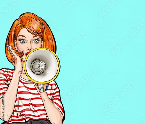 Naklejka Kobieta z megafonem