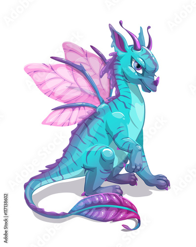 Fototapeta Cartoon blue fantasy dragon