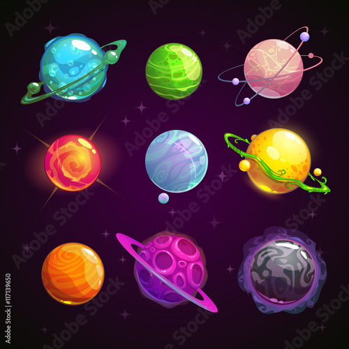 Colorful cartoon fantasy planets set Canvas Print