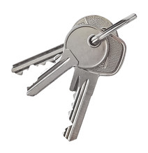 Key Ring With Silver Keys, Isolated On White Background.