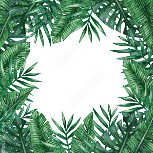 cedeaa39f88 Palm tree leaves background template. Tropical greeting card. - Buy ...