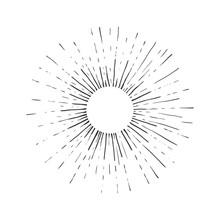 Sun Engraving Style Vector Illustration