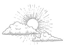 Sun With Clouds Engraving Vect...