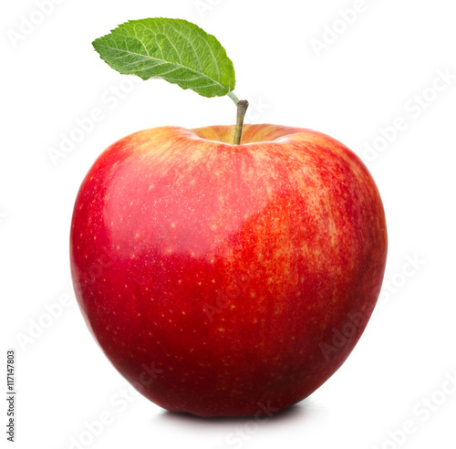 Foto op Aluminium Vruchten red apple with leaf isolated on white background