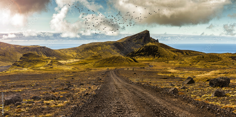 Fototapety, obrazy: Scenic road and surreal landscape at the Highlands of the Snaefellsnes peninsula