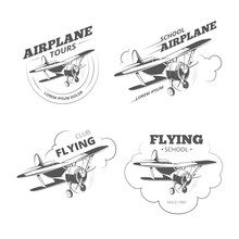Vintage Airplane Or Aircraft Vector Logos, Emblems, Labels Set