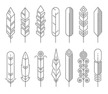Hipster Line Feathers Vector Set